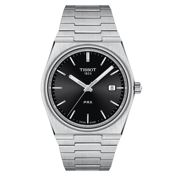 Tissot PRX Herrenuhr 40mm Quarz Grau Schwarz Edelstahl-Armband T137.410.11.051.00