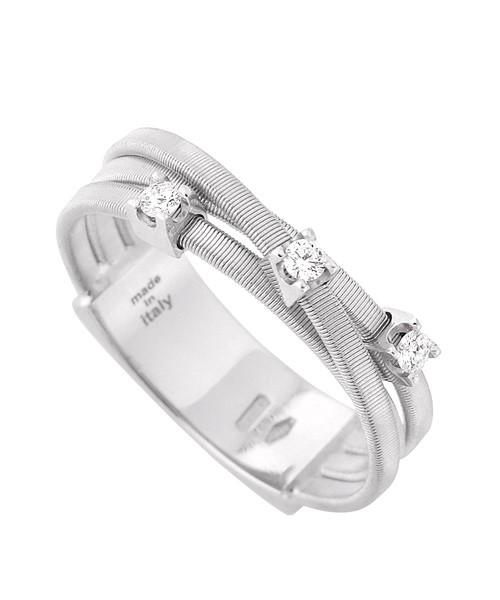 Marco Bicego Ring Weißgold mit Diamanten 3 Stränge Goa AG269-B-W