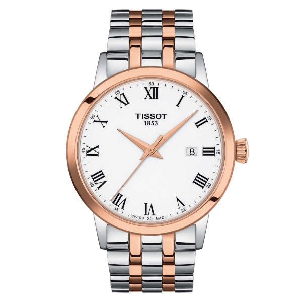 Tissot Classic Dream Herrenuhr Bicolor Rosegold Weiß Quaz 42mm T129.410.22.013.00