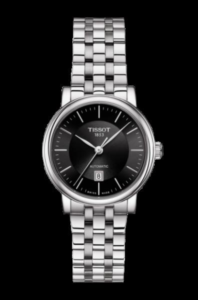 Tissot Carson Automatic Lady Damenuhr silber schwarz Edelstahl-Armband T122.207.11.051.00