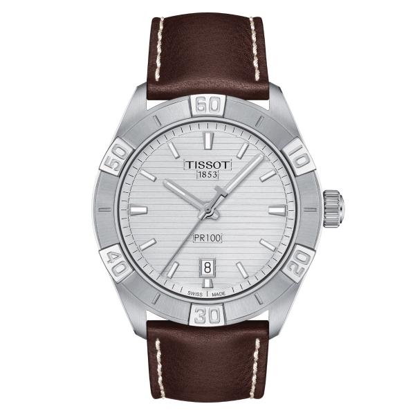 Tissot PR 100 Sport 42mm Silber Leder-Armband Quarz Herrenuhr T101.610.16.031.00