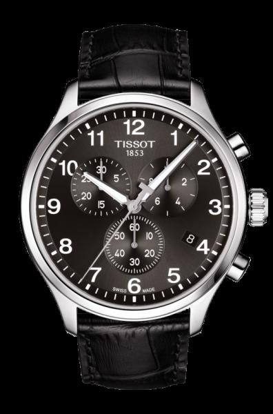 Tissot Chrono XL silber schwarz 45mm Herrenuhr Chronograph Leder-Armband T116.617.16.057.00 zum günstigen Preis online kaufen | UHREN01