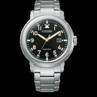 Citizen Eco-Drive Sports Herren Uhr Quarz mit schwarzem Zifferblatt Metallarmband Silber AW1620-81E | UHREN01