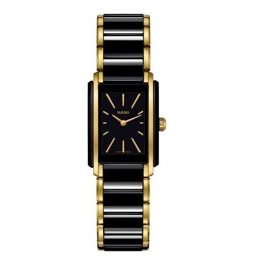 Rado Integral Eckige Damenuhr mit Keramik Armband Schwarz & Gold Quartz 22 x 33mm R20845162 | UHREN01