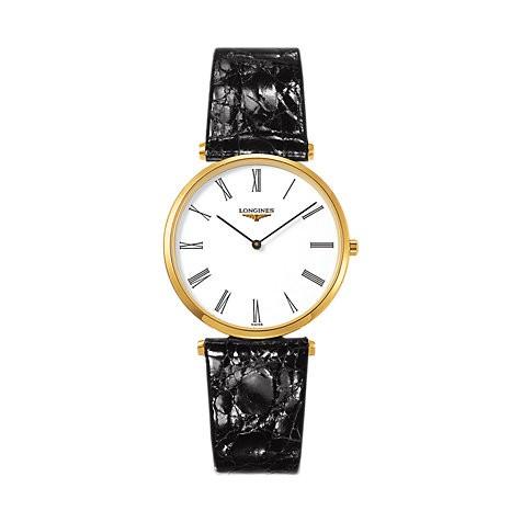 Longines La Grande Classique 33mm Zifferblatt weiß Leder-Armband schwarz L4.709.2.21.2