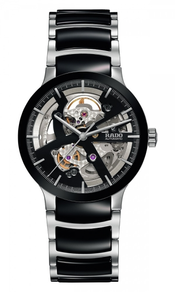 Rado Centrix L Automatic Open Heart Herrenuhr Schwarz Silber Keramik-Armband 38mm R30178152